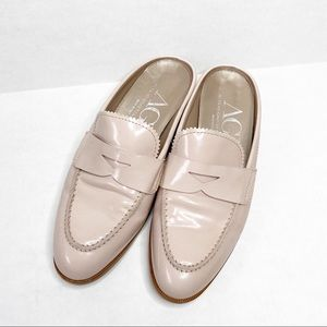 AGL blush scalloped penny loafer mule